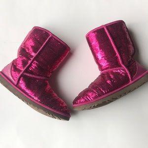 UGG classic short pink sequin boots women's 9